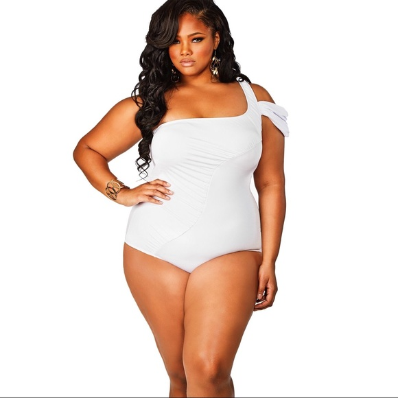 987c100ee90 Monif C Plus Size Tahiti One Shoulder Swimsuit